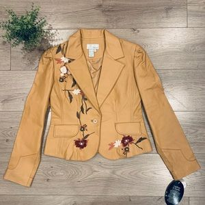 Siegel Floral Embroidered Tan Leather Jacket